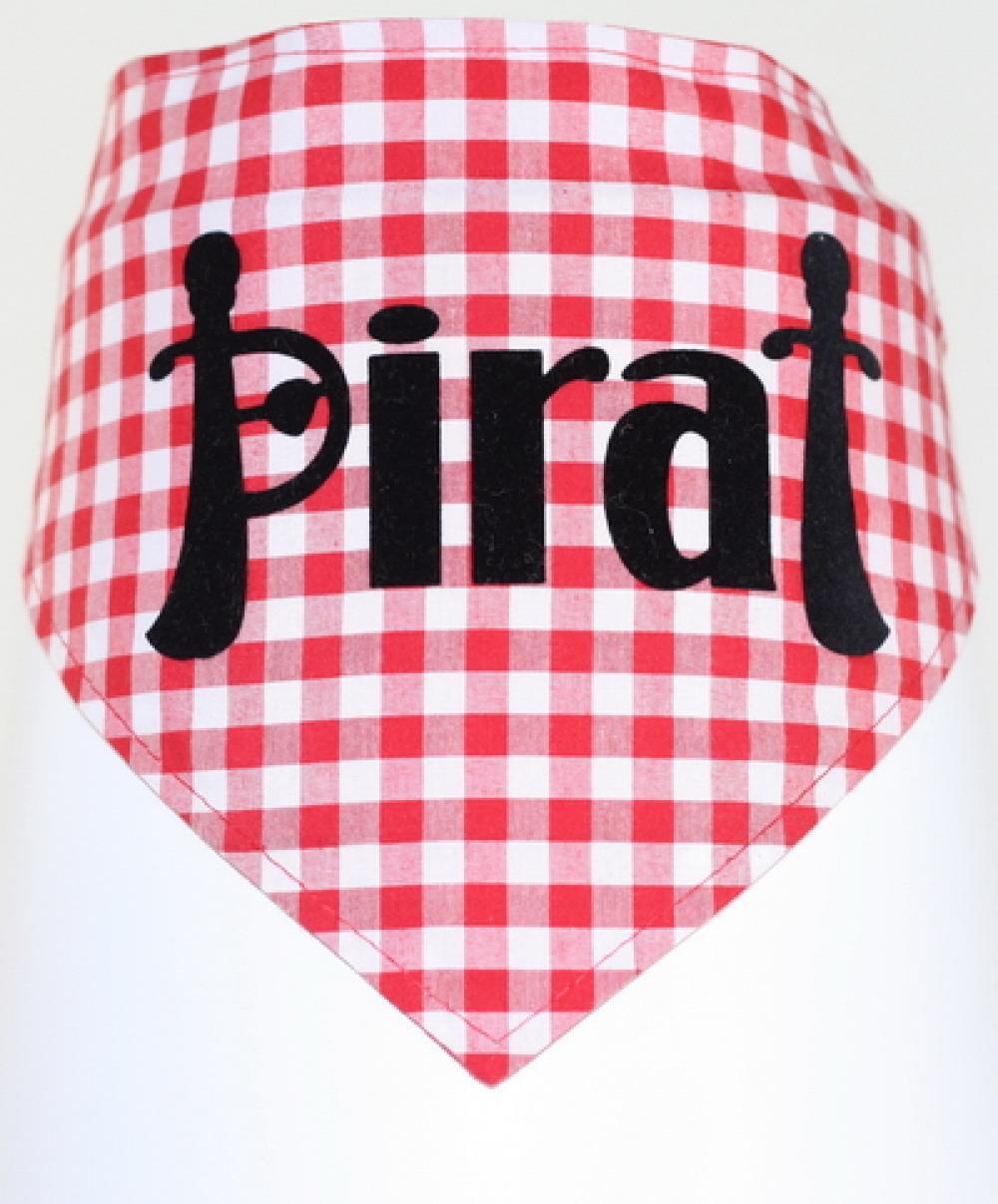 hundehalstuch pirat auf rot wei kariert stickerei. Black Bedroom Furniture Sets. Home Design Ideas